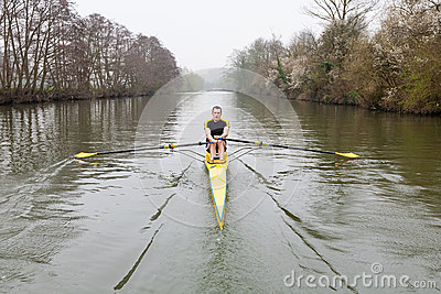 Man rowing on the River Avon