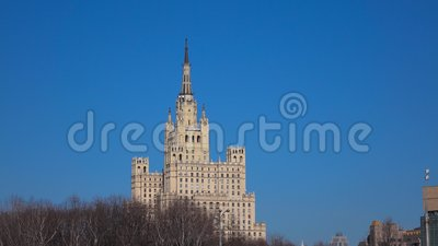 One of Moscow classic spire buildings on sunny spring day. 4K establishing shot. Clip stock video