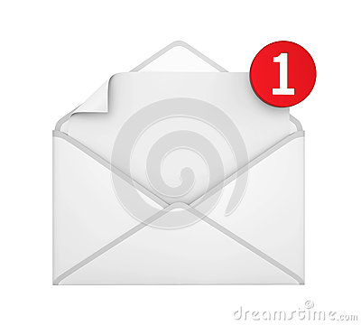 One New Email Notification Stock Photo