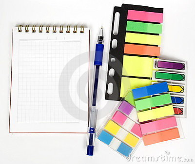 One open notebook with stickers
