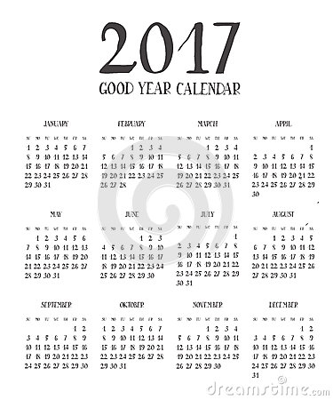 One Page Calendar 2017 With Lettering Months. Stock Illustration ...