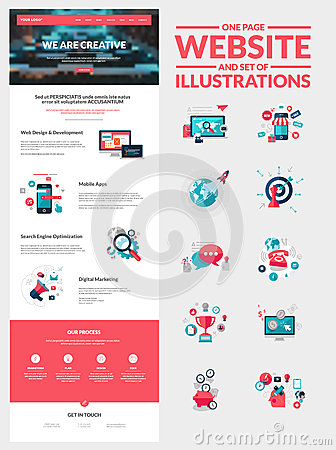 Free One Page Website Design Template Royalty Free Stock Images - 41362829