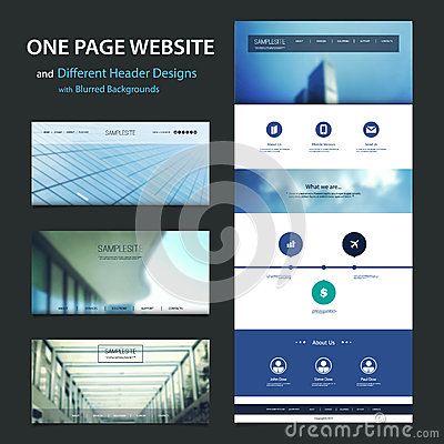 stock vector one page website template and different header designs
