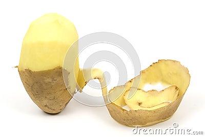 One peeled potato