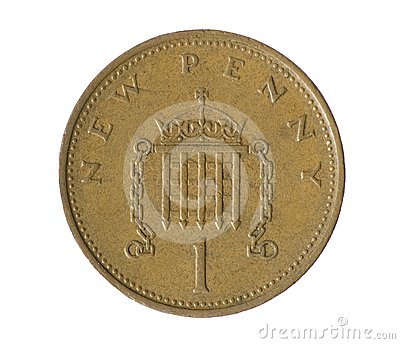 One penny. Coin on white background