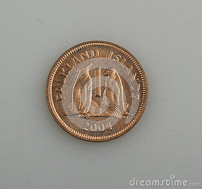 One penny of the Falkland or Malvinas Islands.