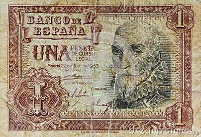 One peseta old bank note