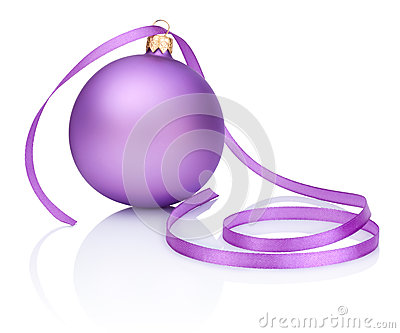 One purple Christmas Bauble and ribbon Isolated on white