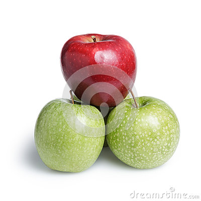 Free One Red And Three Green Apples In Piramid Stock Image - 31314481