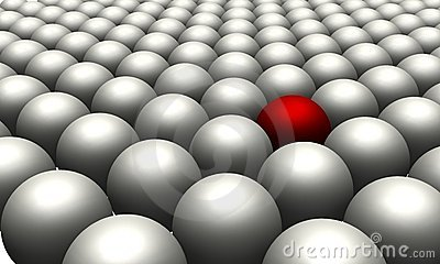 One red ball in amongst many white balls