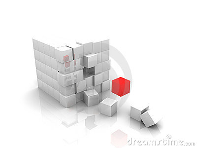 One red Cube 3d