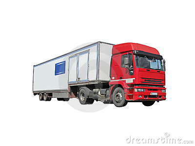 one red diesel heavy cargo truck fuel lorry