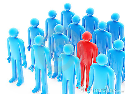 One red figure between many blue peoples