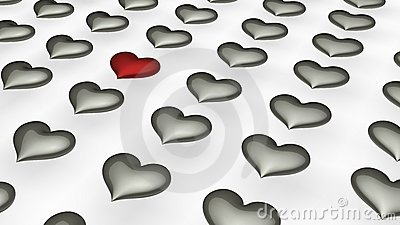 One red heart in amongst many white hearts