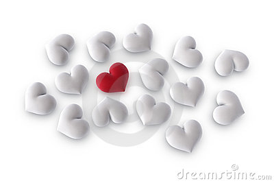 One red heart among several white