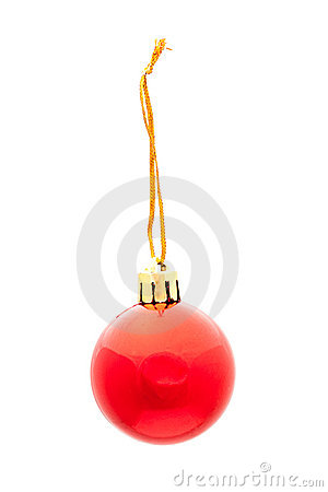 One red isolated xmas ball