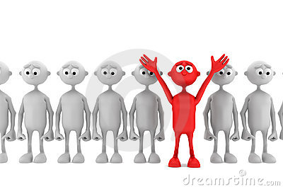 One red man stand out from the crowd
