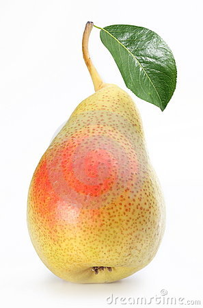 Free One Ripe Pear With A Leaf. Royalty Free Stock Photo - 15076255
