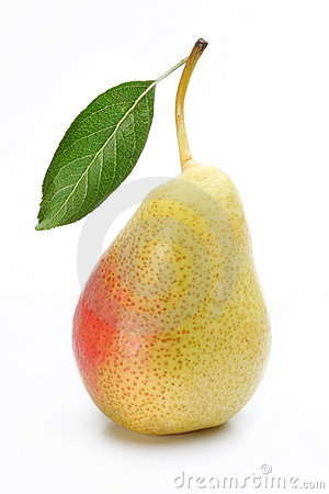 Free One Ripe Pear With A Leaf. Royalty Free Stock Photography - 15466547