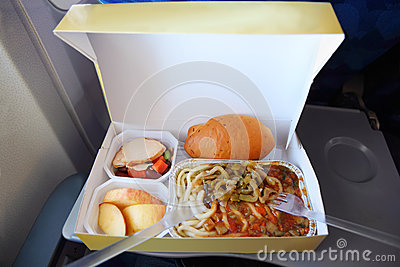 One serving on tray of packed food in box