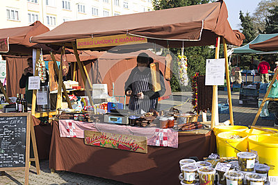 One of the shops at Prague autumn farmers markets Editorial Photo