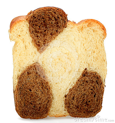 One slice of bread made ​​from rye and wheat