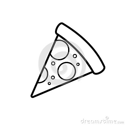 One slice pizza outline icon Vector Illustration