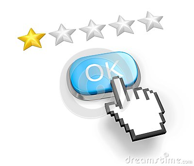 One stars rating. Button OK and hand cursor.
