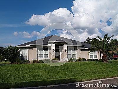 One Story Florida Stucco Home Stock Photos Image 10941663