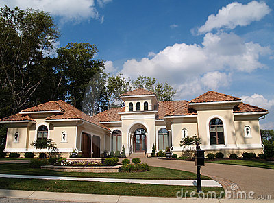 One Story Stucco Residential Home With Clay Tile R