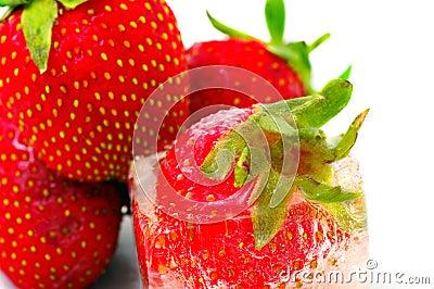 One strawberry into ice