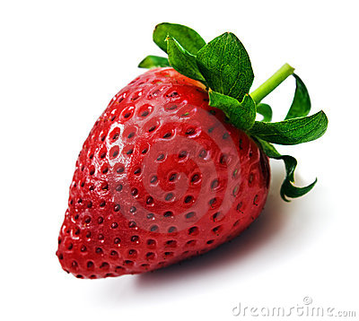 One strawberry on a white