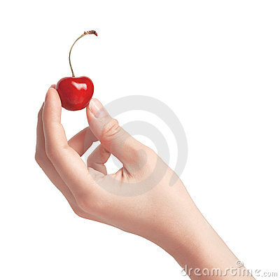 Free One Sweet Cherries In A Hand. Royalty Free Stock Photography - 20237677