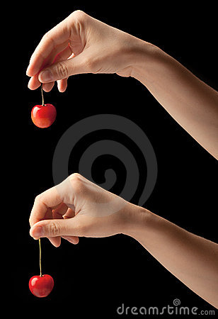 Free One Sweet Cherries On A Hand. Royalty Free Stock Photos - 20237708