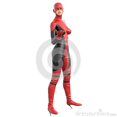 Free One Tall Woman In Red Black Super Suit. Posing Standing Sideways To Camera With Open Hand Royalty Free Stock Images - 74095039