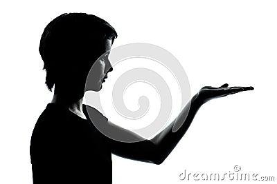 One teenager silhouette empty hands open