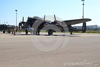 One of only two flying in the world Lancaster and crew Editorial Stock Image