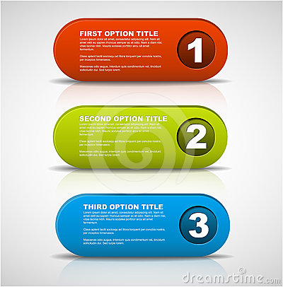 Free One Two Three - 3D Vector Progress Buttons Stock Images - 24546404