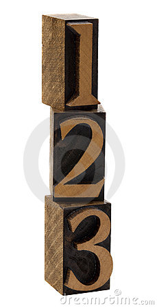 One, two, three wood numbers
