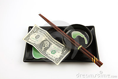 One United States dollar bill on a sushi plate