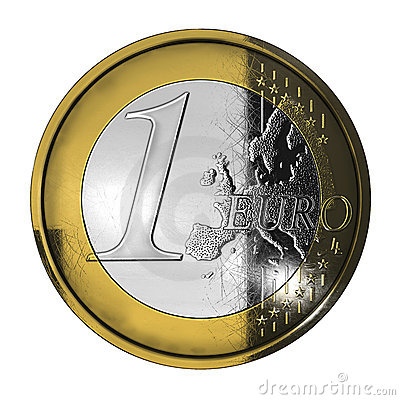 One used euro coin
