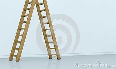 One wall with a ladder