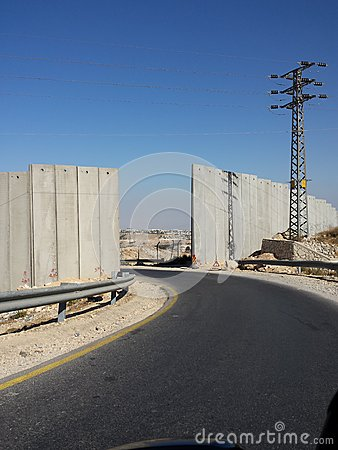 Free One Way, Gate In Wall To Occupied Palestinian Auth Stock Photos - 44599083