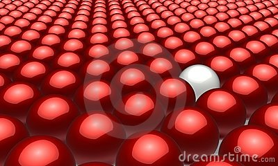 One white ball in amongst many red balls