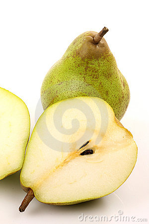 One whole and two pear halves