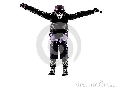 One woman skier skiing jumping shouting silhouette
