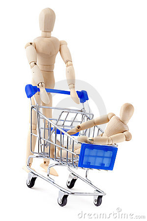 One wooden dummy rolls another in shopping cart.