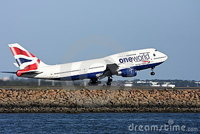 One World British Airways Boeing 747 taking off. Editorial Stock Photo