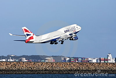 One World British Airways Boeing 747 taking off. Editorial Photography