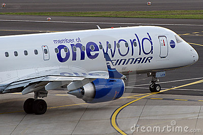 One World on Finnair plane Editorial Stock Photo